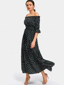 Off Shoulder Polka Dot Belted Maxi Dress