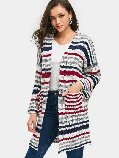 Zaful Open Front Striped Chunky Cardigan