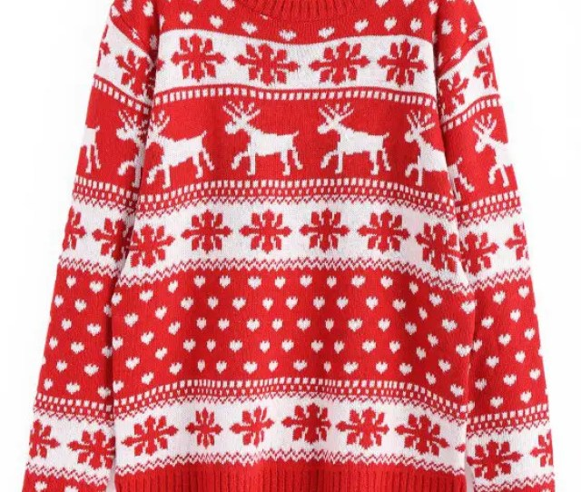 Womens Snowflakes Elk Graphic Christmas Sweater Red One Size