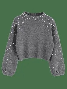 Faux Pearl Mock Neck Sweater