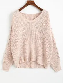 V Neck Lace Up Sleeve Chunky Sweater