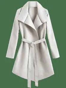 Belted Asymmetrical Wool Blend Coat
