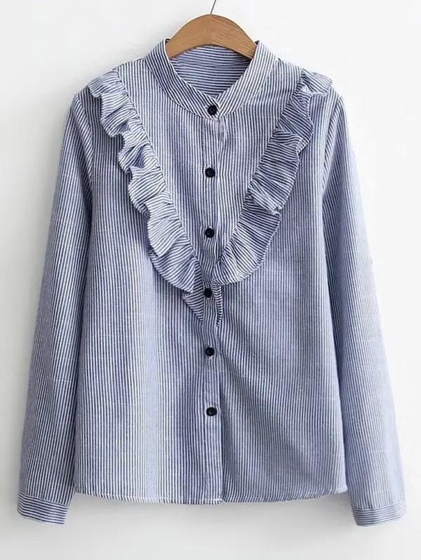 Button Down Ruffles Stripes Shirt