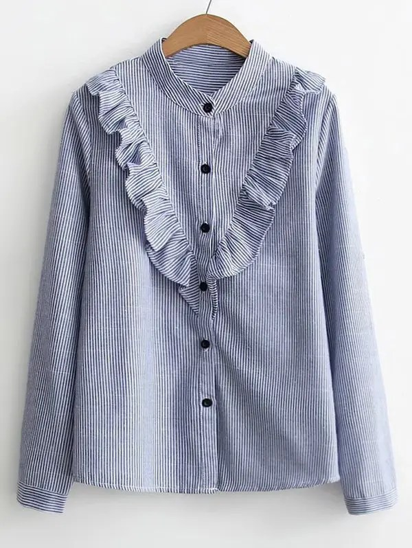 Button Down Ruffles Stripes Shirt