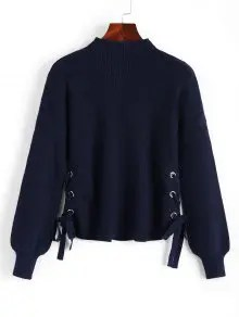 Side Lace Up Lantern Sleeve Sweater