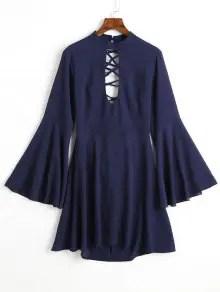 Flare Sleeve Keyhole Back Lace Up Dress