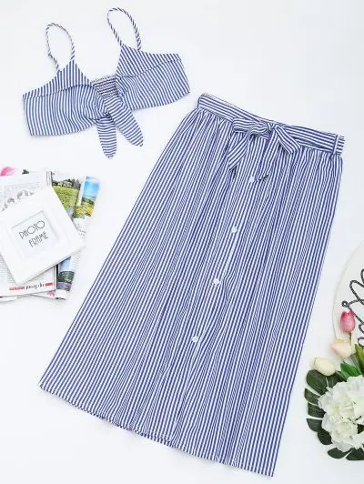 Zaful Tied Cami Top and Striped Skirt Set