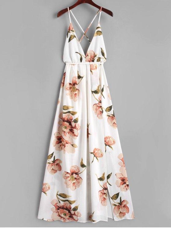 women's Slit Floral Criss Cross Maxi Dress - WHITE S