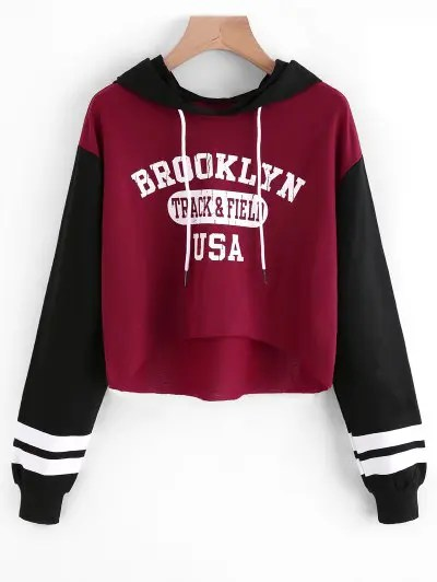 Zaful Letter Graphic High Low Hoodie