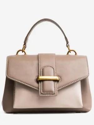 Buckled Color Block PU Leather Handbag - Khaki