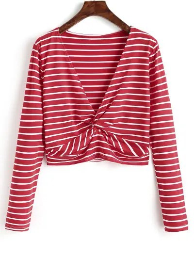 Twist Cropped Stripes Top - Red L