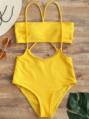 Firstgrabber Bandeau Top and High Waisted Slip Bikini Bottoms