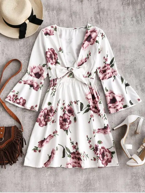 women's Flare Sleeve Plunging Neck Floral Dress - WHITE XL