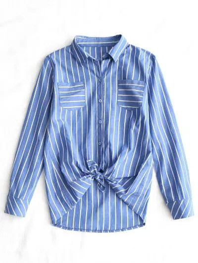 Zaful Self Tie Hem Striped Pocket Shirt