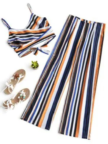 Firstgrabber Stripes Cross Over Top and Wide Leg Pants Set