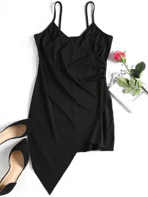 Firstgrabber Overlap Asymmetrical Bodycon Dress