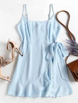 Babados Cami Vestido De Sobreposição - Azul Claro L