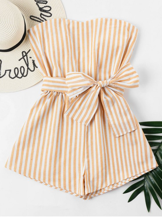 online Striped Tube Romper - SCHOOL BUS YELLOW S