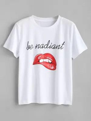 Letter Lips Print T Shirt - White M