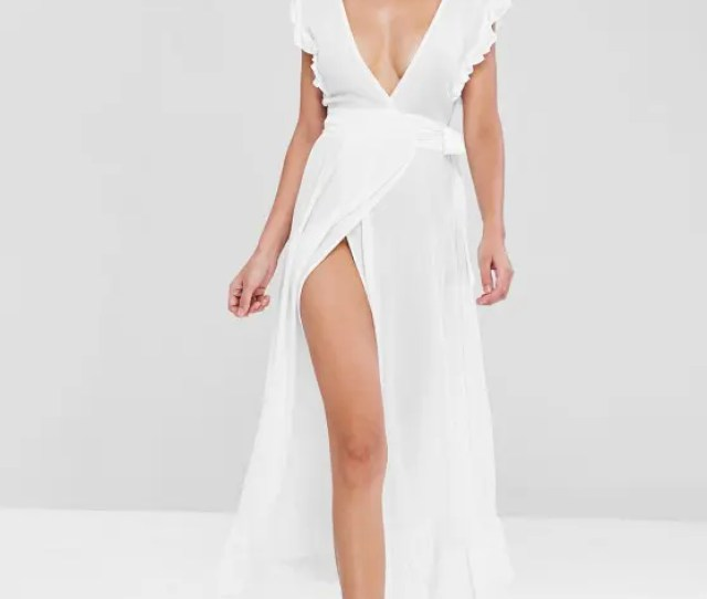 Ruffles Wrap Maxi Dress White L