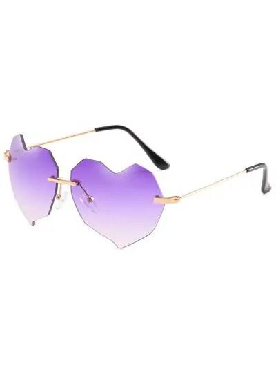 Novelty Irregular Heart Lens Rimless Sunglasses