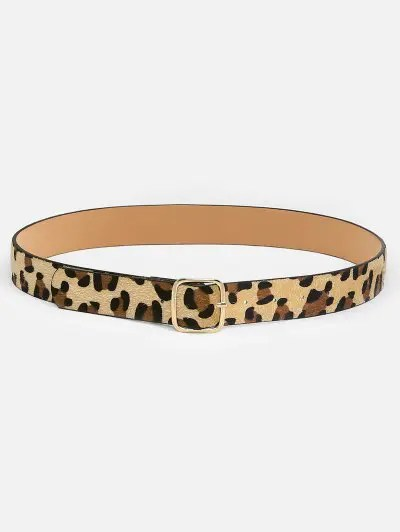 Leopard Pattern Square Buckle Belt