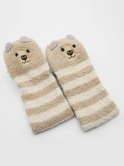 Christmas Elk Striped Fuzzy Floor Socks
