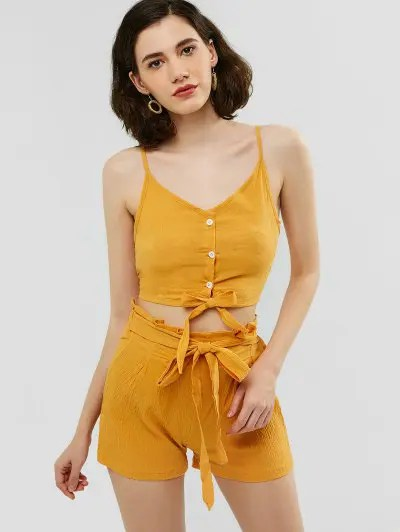 zaful Buttoned Cami Top and Knotted Shorts Set