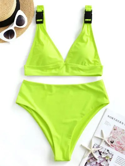 ZAFUL Neon Buckle High Cut Plunge Tankini Swimsuit