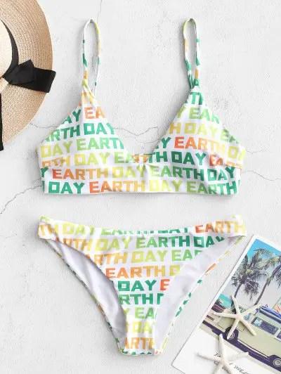 ZAFUL Dazzling Colorful EARTH DAY Print Bikini Swimsuit