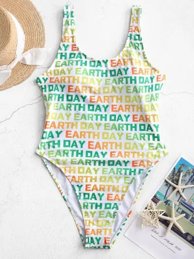 ZAFUL Dazzling Colorful EARTH DAY Print One-piece Swimsuit