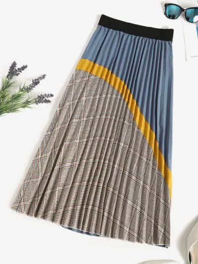 Plaid Knife Pleated Patchwork A Line Skirt