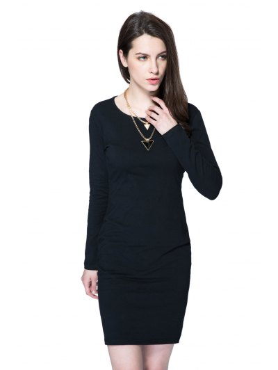 Scoop Collar Long Sleeve Black Hollow Out Bodycon Dress