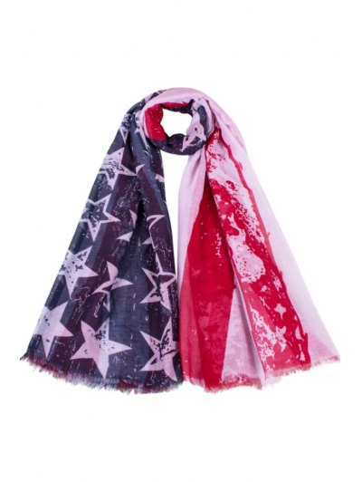 American Flag Print Fringed Scarf For Women