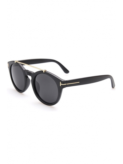 Alloy Embellished Matte Black Sunglasses For Women