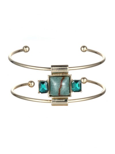 Faux Gemstone Square Double Layered Cuff Bracelet