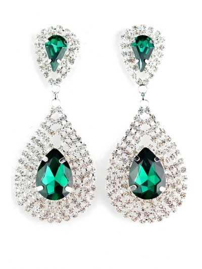 Pair of Exquisite Faux Crystal Water Drop Earrings For Women