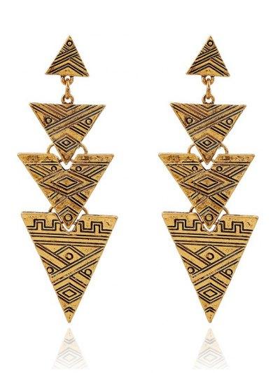 Retro Carving Stitching Triangle Drop Earrings For Women