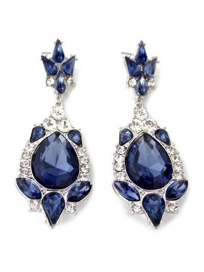 Pair of Exquisite Water Drop Faux Crystal Earrings For Women