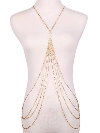 Fashionable Faux Pearl Decorated Multi Layered Body Chain For Women