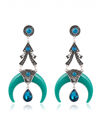 Pair of Stylish Faux Crystal Water Drop Moon Earrings For Women