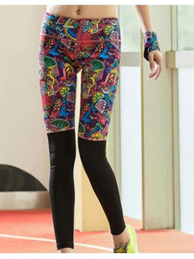 Elastic Waist Skinny Spliced Printed Colorful Yoga Pants