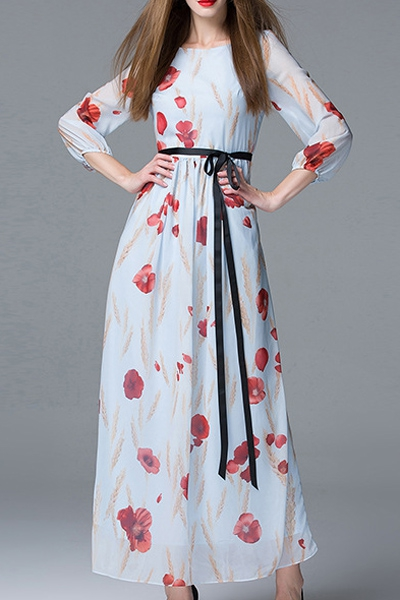 Round Collar 3 4 Sleeve Floral Print Maxi Dress
