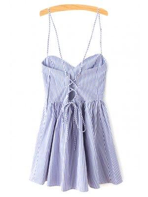 Robe à Rayures Sans Manches Ajustée Avec Bretelles Fines - Bleu S