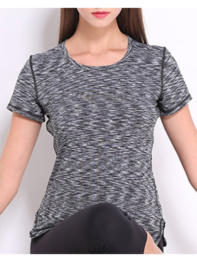 Round Neck Short Sleeves Candy Color Sport Tee