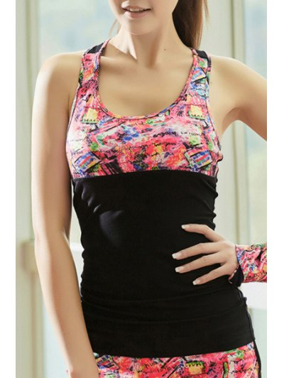 U Neck Hollow Out Printed Sport Tank Top