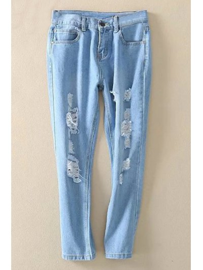 Bleach Wash Distressed Ninth Jeans