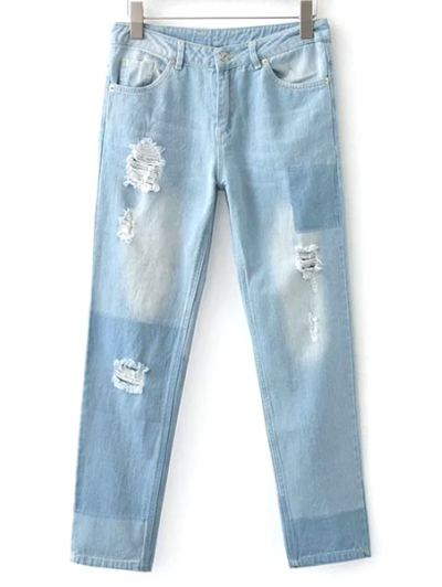 Bleach Wash Broken Hole Boyfriend Jeans