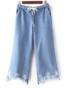 Light Blue Denim Wide Leg Jeans