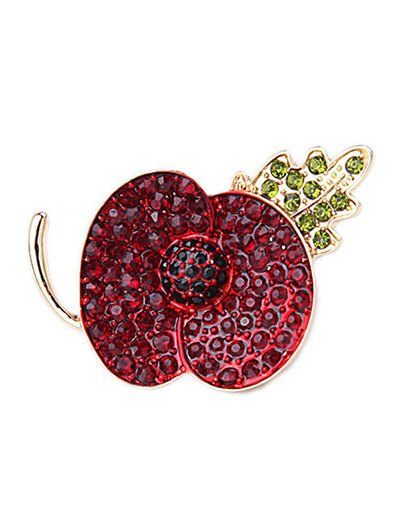 Faux Ruby Apple Shape Brooch For Women
